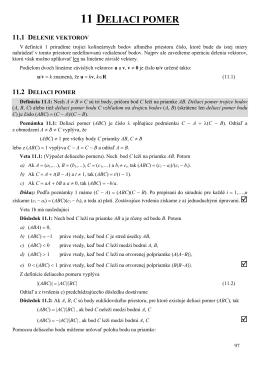 Deliaci pomer, Lineárna kombinácia bodov