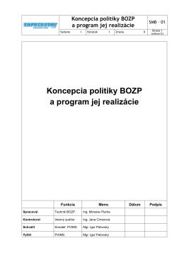 (SMB 01 Koncepcia Politiky BOZP a program jej
