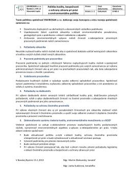 Politika kvality, bezpečnosti a ochrany zdravia pri práci a
