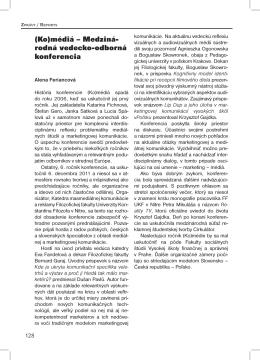 (Ko)médiá – Medziná- rodná vedecko-odborná