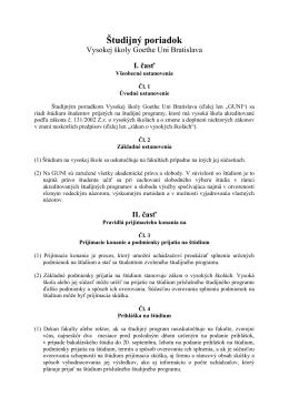 Študijný poriadok [.pdf] - Hochschule Goethe Uni Bratislava