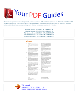 gigaset c455 ip - Príručka používateľa