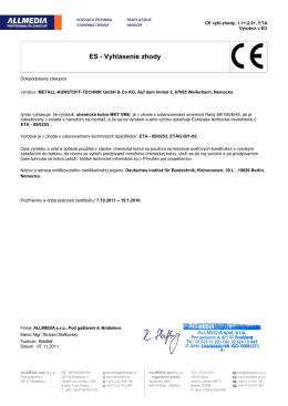 ES - Vyhlásenie zhody