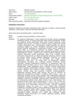 Typ práce: Diplomová práca Názov práce: Využitie kŕmnych