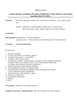 Zápisnica OZ č.1 - Obec Jablonov nad Turňou