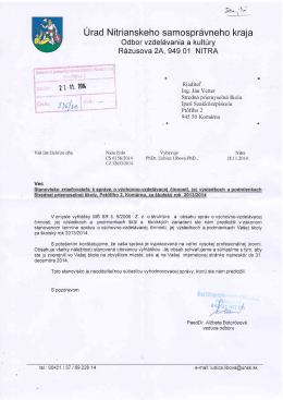 Stanovisko k správe o VVČ 2013/2014
