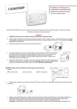 Prevádzkový a inštalačný návod EUROTEMP 30