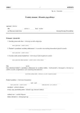 Úradný záznam / Hivatalos jegyzőkönyv