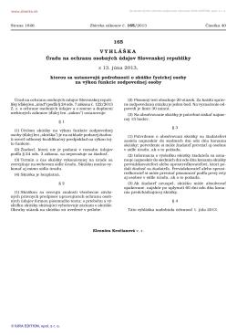 Vyhláška č. 165/2013 Z. z. - Úrad na ochranu osobných údajov