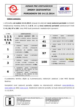 zmeny cestovných poriadkov od 14.12.2014