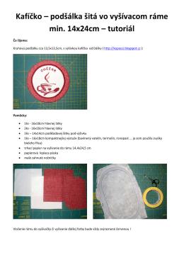 Kafíčko – podšálka šitá vo vyšívacom ráme min. 14x24cm – tutoriál