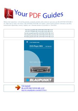 Návod na používanie BLAUPUNKT DVD ME 4 LF