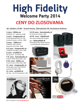 Welcome Party 2014 CENY DO ZLOSOVANIA