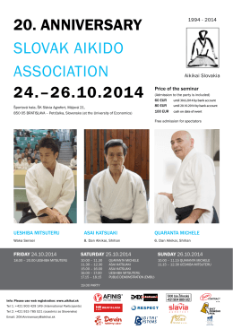 24.–26.10.2014 20. anniverSary SLoVAK AIKIDo ASSoCIATIoN