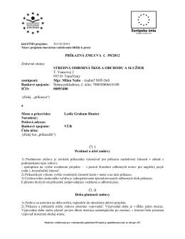 PRÍKAZNÁ ZMLUVA č. P8/2012 Zmluvné strany
