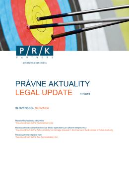 PRÁVNE AKTUALITY LEGAL UPDATE 01/2013