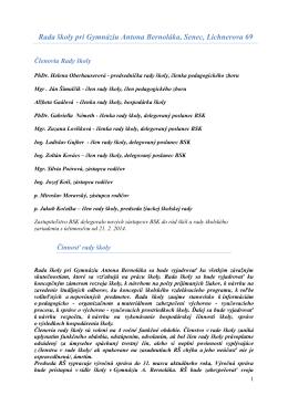 Členovia, činnosť a plán práce Rady školy 2013/2014