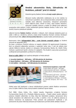 Projekt Zentiva - Stredná zdravotnícka škola
