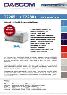 Špecifikácie - Ihličkové tlačiarne