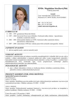 RNDr. Magdaléna Strečková,Phd. - Ústav materiálového výskumu