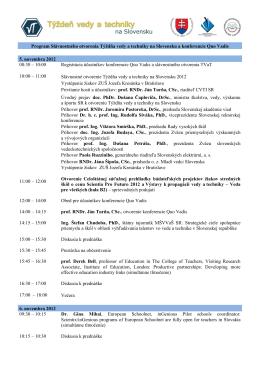 Program Slávnostného otvorenia Týždňa vedy a techniky na