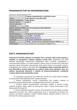 PHSR Programová časť