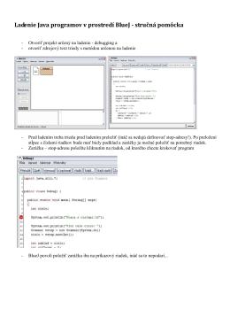 Ladenie Java programov v prostredí BlueJ