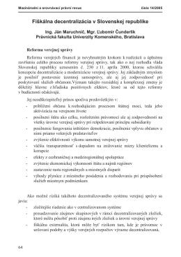 Fiškálna decentralizácia v Slovenskej republike