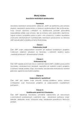 Etický kódex - Asociácia nezávislých producentov