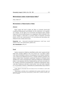 Minimalizácia alebo modernizácia štátu?
