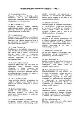 ROZŠÍRENÝ SÚBOR TKANIVOVÝCH SOLÍ (Č. 13 AŽ 27) Reguluje
