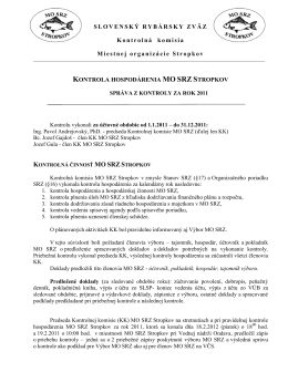 Správa Kontrolnej komisie MO SRZ za rok 2011