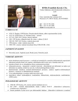 RNDr.František Kováč, CSc. - Ústav materiálového výskumu SAV