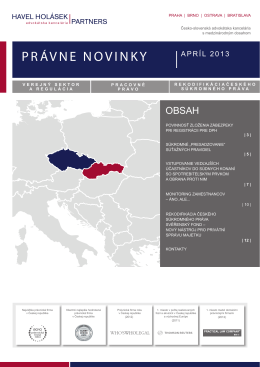PRÁVNE NOVINKY - Havel, Holásek & Partners