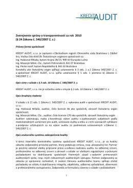 Zverejnenie správy o transparentnosti (2010)