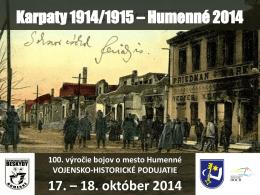 Karpaty 1914/1915 - klub vojenskej histórie Beskydy