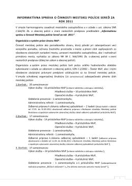 Informatívna správa MsP za rok 2011