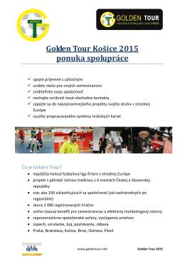 Golden Tour Košice 2015 ponuka spolupráce