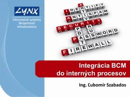 Integrácia BCM do interných procesov