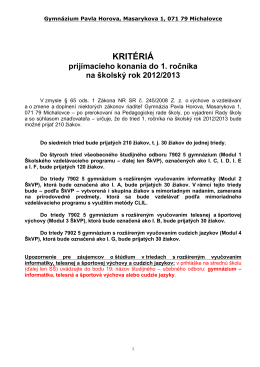 KRITÉRIÁ - Gymnázium Pavla Horova