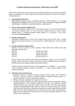 """Pravidlá a podmienky predajnej akcie """"Philips Shaver Series 9000"""""""
