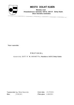 Protokol z kontroly ZUŠ PM Bohúňa
