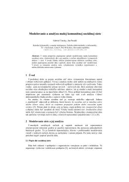Modelovanie a analýza malej komunitnej sociálnej siete