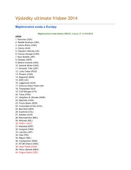 2014 SK Ultimate Frisbee výsledky
