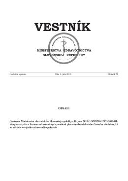 Vestník MZ SR 2010, Osobit. vydanie VII
