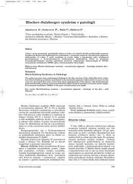 Blochov–Sulzbergov syndróm v patológii - česko