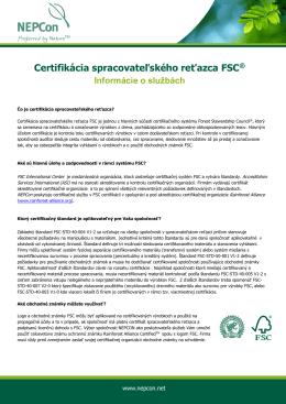Certifikácia spracovateľského reťazca FSC®