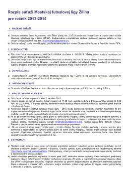 Rozpis MFLŽ 2013-2014