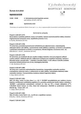 Štvrtok 23.9.2010 Seminárne prípady