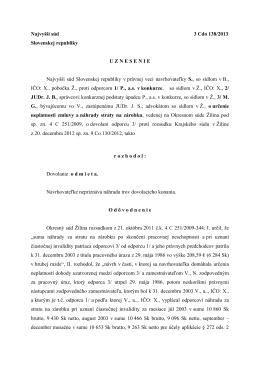 Najvyšší súd 3 Cdo 138/2013 Slovenskej